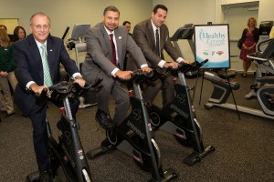 David Brown, President and CEO of the Capital District YMCA (center), Dr. John D. Bennett, President and CEO of CDPHP (left), and Rudy DiPietro, Vice President of Retail Operations for Hannaford Supermarkets (right)