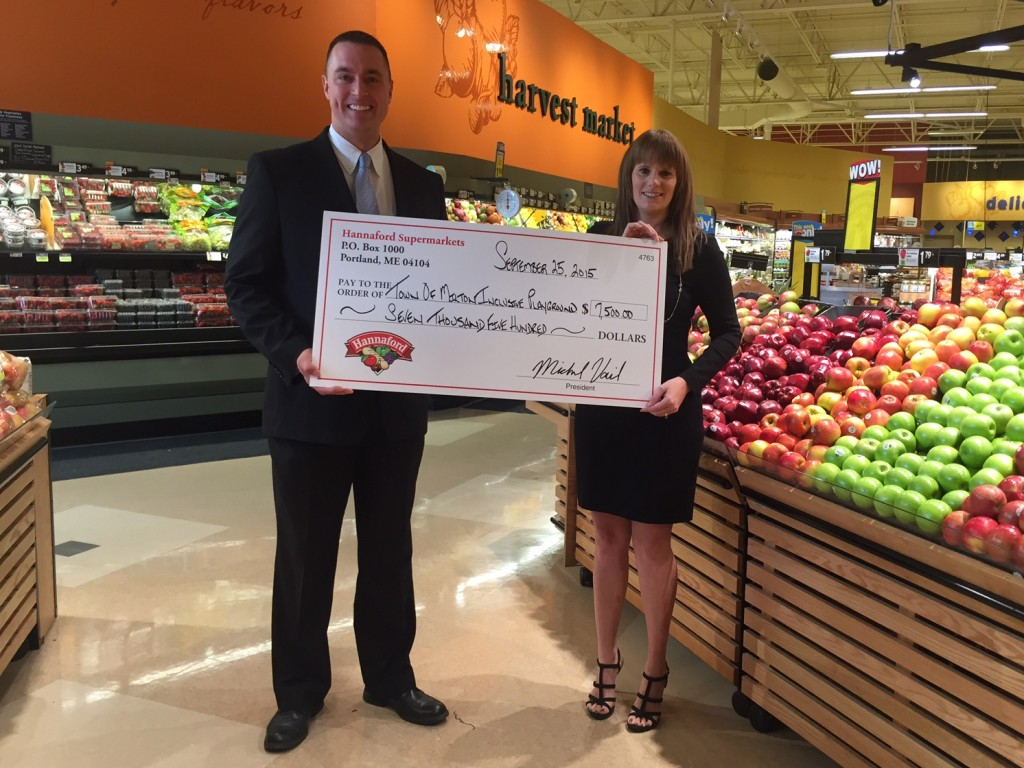 Town of Milton Inclusive Playground Donation: Hannaford Supermarkets Regional Community Relations Specialist Brian Fabre (left) presents Town of Milton Inclusive Playground Organizer Krystyn LaBate (right) with a donation of $7,500 at the newly-remodeled Ballston Spa Hannaford store at 11 Trieble Avenue on Friday, September 25.