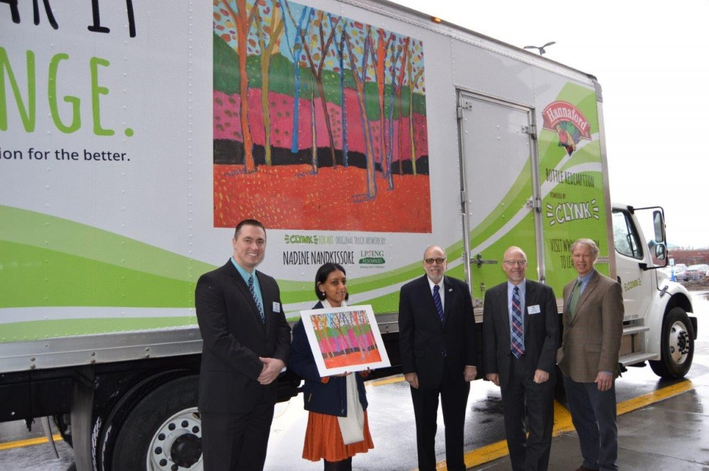 From left to right: Hannaford Supermarkets Community Relations Specialist Brian Fabre; Nandkissore; Living Resources CEO Fred Erlich; Hannaford Supermarkets Director of Operations for the Albany Region Dennis Martin; and CLYNK CEO Clayton Kyle.