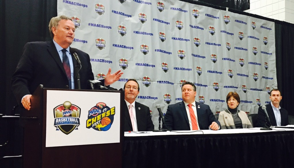 Pictured is MAAC Commissioner Richard Ensor (left) outlining the initiatives along with (L to R) Bob Belber, General Manager, Times Union Center; Albany County Executive Dan McCoy; Albany Mayor Kathy Sheehan; and Ross Levi, Vice President of Marketing Initiatives, Empire State Development.