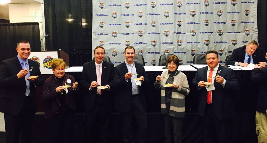 . Pictured sampling mac-n-cheese from Mazzone Hospitality is (L to R) Brian Fabre, Community Relations Specialist, Hannaford Supermarkets; Michele Vennard, President and CEO, the Albany County Convention & Visitor's Bureau; Bob Belber, General Manager, Times Union Center; Ross Levi, Vice President of Marketing Initiatives, Empire State Development; Albany Mayor Kathy Sheehan; Albany County Executive Dan McCoy; and MAAC Commissioner Richard Ensor.