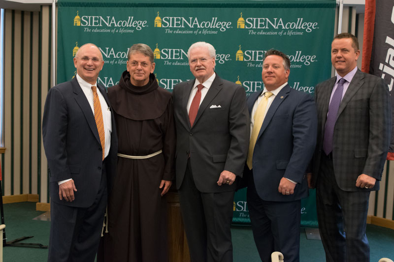 Andrew J. Matonak, Ed.D., President, Hudson Valley Community College, Brother F. Edward Coughlin, President of Siena College, Neal Johnson, CEO of Special Olympics New York, Albany County Executive Dan McCoy, and Albany County Sheriff Craig Apple