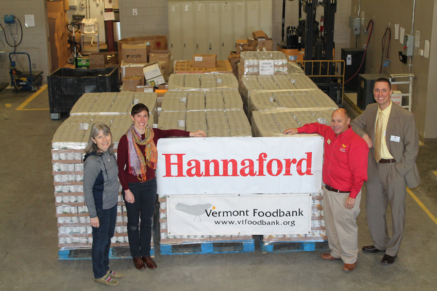 From left to right: Chris Foster, Chief Development Officer, Vermont Foodbank; Nicole Whalen, Director of Communications and Public Affairs, Vermont Foodbank; Tom Abbiati, Director of Food Resources, Vermont Foodbank; Brian Fabre, Community Relations Specialist, Hannaford Supermarkets.