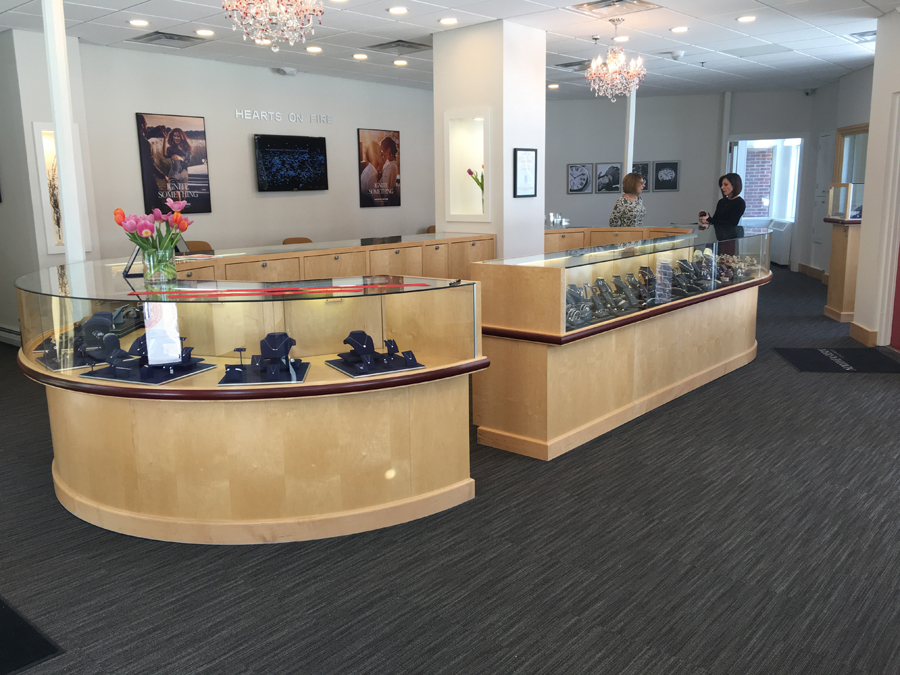 The interior of Northeastern Fine Jewelry's newest location in downtown Glens Falls is showcased during a ribbon cutting ceremony to celebrate the store's official grand openin.