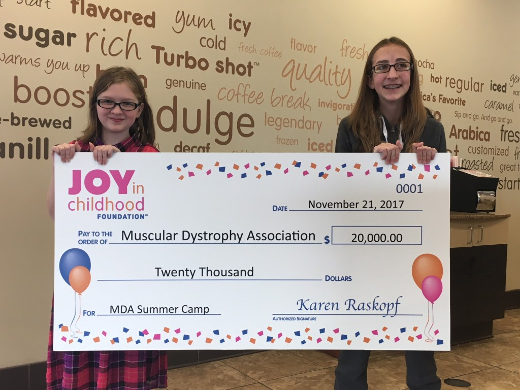 Muscular Dystrophy Association Summer Campers Payton Near (left), age 10, and Courtney Perrin (right), age 14