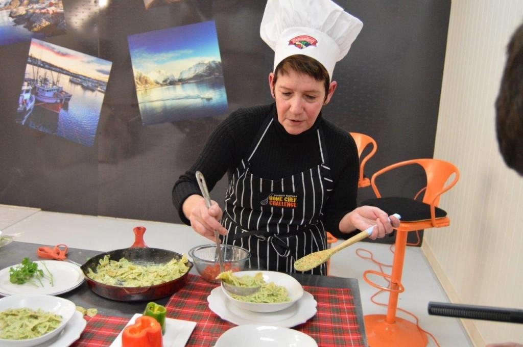 Leslie Fillnow of Camden, ME prepares her dish.